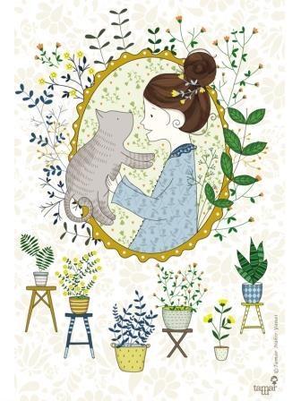 אישה וחתול במסגרת אובלית