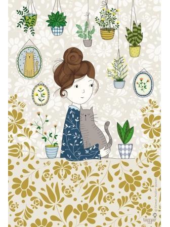 אישה צמחים וחתול
