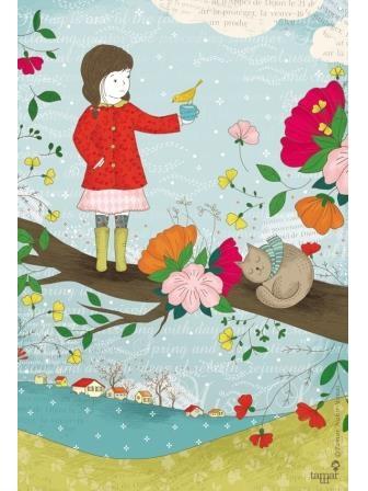 חורף צבעוני ילדה במעיל אדום